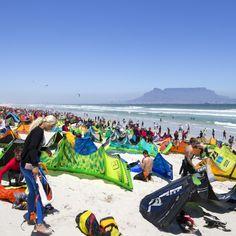 Kitesurfer gathering at Dolphin Beach, Cape Town - Virgin Kitesurfing Armada January 2016 Kitesurfing, January 2016, Photography Portfolio, Cape Town, Dolphins, Beach, Image, The Beach, Beaches