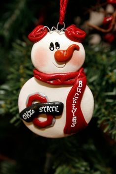 Personalized Ohio State Buckeyes Snowman by MISTYSCLAYCUTIES, $8.00