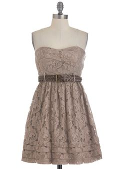 Super cute!     Stone Poses Dress - Brown, Floral, Lace, Party, A-line, Summer, Belted, Strapless