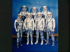 John Glenn and Friendship 7 - 50 years anniversary. All seven of the Mercury astronauts pose for a photograph on Dec. 3, 1962. In the front row, from left to right are Wally Schirra, Deke Slayton, John Glenn, and Scott Carpenter. In the back row, from left to right, are Alan Shepard, Gus Grisson, and Gordo Cooper.
