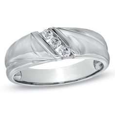 Men's 1/6 CT. T.W. Diamond Three Stone Slant Wedding Band in 10K White Gold