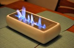 A tabletop fireplace — great for a small apartment