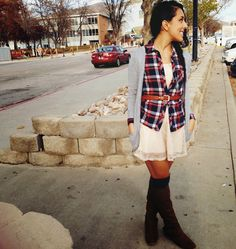 Cardi layered over plaid, layered over a lace dress! Over the knee socks layered under boots outfit. Basic fall layers.