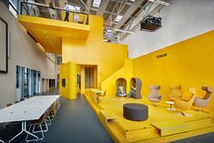 GROUP A brightens up teaching lab in koning-inspired winning design Office Space Design, Office Interior Design, Best Interior, Office Interiors, Office Spaces, Yellow Office, Luxury Dining Tables, Yellow Interior, Space Architecture