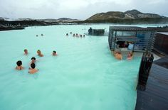 Blue Lagoon, Iceland - The water averages 98 to 102 degrees and is said to have curative benefits.
