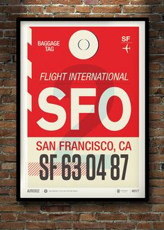 "San Francisco - Flight Tag Print | Designer: Neil Stevens | $46 USD for 11x16 print | $70 USD for a 19x27"" print #art #poster #travel"
