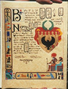 SCA, West Kingdom, Order of the Laurel scroll made for Neptha of Thebes. Illumination (Art) by Morgunn Ravenstone of Tantalon, Calligraphy by Flavia Beatrice Carmigniani (Bjo Trimble of Griffin Dyeworks)