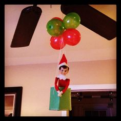 Elf on the shelf making his grand entrance the first night!