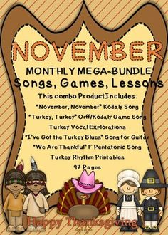 I'm excited to offer this MUSIC TEACHER mega bundle product. I put 6 products into one Bundle. This Bundle can be used for the whole month of November. If you bought each item separately they would cost $14.50.Too late you say?  Why not get a jump on next year?