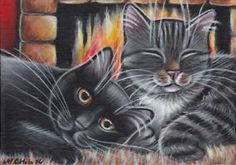 Black & Gray Tabby Cats Fireplace Painting