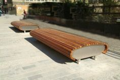 Satellite Seat - Woodscape Street Furniture. Bespoke Hardwood street furniture. #Timber #outdoor #furniture #landscaping #streetfurniture #seating