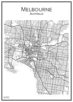 Melbourne. Australien. Australia. Map. City print. Print. Affisch. Tavla. Tryck.