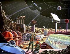 Das Neue Universum 75, 1958  Menschen auf dem Mond. In einem Mondkrater wird die erste Mondstadt erbaut. Concept art by Klaus Bürgle