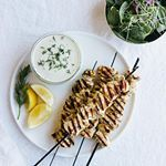 Chicken souvlaki with dairy-free tzatziki. A dish inspired by my friend Kristen at @livinglovingpaleo and her fab new ebook Get Sauced. Check it out! It's such a simple dish with so much lemon, garlic, herby flavor. Recipe on the blog. ❤️