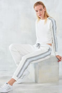 more like this can be found at the website! Give it a look for what we pick best for each category!White trousers with stripes on the sides TRENDYOLMİLLA Sport Fashion, Look Fashion, Fashion Outfits, Womens Fashion, Ski Fashion, Side Stripe Trousers, White Trousers, Sporty Outfits, Sporty Style