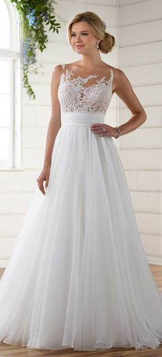 Stunning Tulle & Organza Illusion Scoop Neckline A-line Wedding Dresses With Lace Appliques