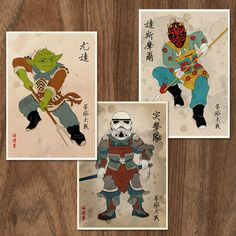 Star Wars characters inspired by traditional illustrations of Chinese mythological figures