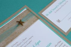 Beach Wedding Invitation, Seaside, Elegant Destination Wedding Invite with Starfish. $5.75, via Etsy.