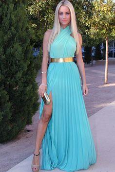 Sexy Crossed Halter Neck Tank Sleeveless Mid Waist Side Split Solid Blue Ankle Length Dress