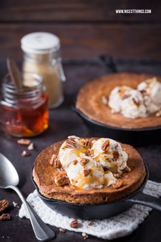 Skillet Brownies / Blondies Recipe with Maple Walnuts Ice Cream, Maple Syrup, Pecans