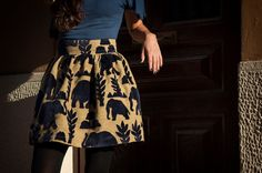 High waist velvet elephants puffy skirt royal by LeMoutonBleuShop, €65.00