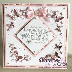 Dies by Chloe - Butterfly Corners - - Dies By Chloe Butterfly Corners - Chloes Creative Cards Chloes Creative Cards, Creative Christmas Cards, Butterfly Birthday Cards, Butterfly Cards, Scrapbook Paper Crafts, Scrapbook Cards, Stamps By Chloe, Crafters Companion Cards, Snow Flakes Diy