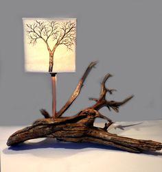 Lampe bois flotté #11 Prospérité  Abat-jour en soie par Les Soies de Mini Fée www.soiesminifee.com