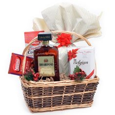 Cos cadou cu Amaretto Disaronno Christmas Baskets, Wicker Baskets, Cos, Home Decor, Decoration Home, Christmas Gift Baskets, Room Decor, Christmas Hamper, Home Interior Design