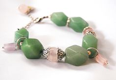 Handmade bracelet with quartz, jade ahd tibetan silver  #gioielì #handmade #gemstone #jewels #diy #bracelet #fashion
