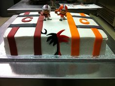 Rehearsal Dinner Cake for a bride who loves Clemson University and a groom who loves the University of South Carolina