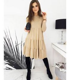 Béžové šaty Osella Beige Color, Colour, Beige Dresses, Wool, Elegant, Composition, Stylish, How To Make, Products