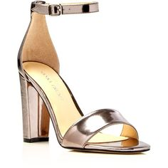 Ivanka Trump Emalyn Metallic Ankle Strap High Heel Sandals (1.905 ARS) ❤ liked on Polyvore featuring shoes, sandals, pewter, ivanka trump shoes, ivanka trump, pewter sandals, pewter metallic shoes and ankle strap shoes