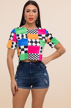 dc331611e Shirts & Tops · Colorful Patterned Crop Top | K's Beauty Bar