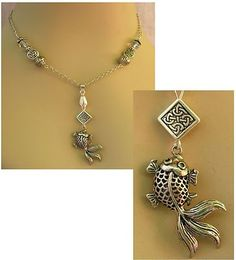 Silver Celtic Knot Fish Pendant Necklace