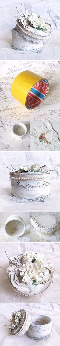 Shabby Chic Decor and Bedding Ideas - DIY Tape Roll Jewelry Box - Rustic and Romantic Vintage Bedroom Living Room and Kitchen Country Cottage Furniture and Home Decor Ideas. Step by Step Tutorials and Instructions