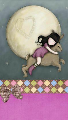 Over The Moon- Gorjuss Cute Wallpapers, Wallpaper Backgrounds, Iphone Wallpaper, Santoro London, Dibujos Cute, Unique Wallpaper, Hello Kitty Wallpaper, Cute Images, Cute Illustration