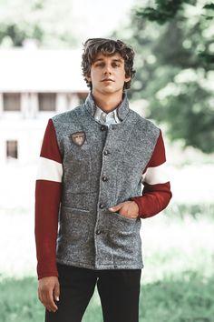 Blazer, Style, Fashion, Crests, Mandarin Collar, Scale Model, Grey, Breien, Swag