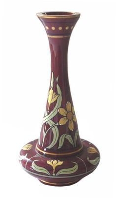 Art Nouveau vase made of sealing wax red glass, Josef Riedel