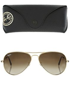 Ray-Ban Gold & Brown Aviator Sunglasses