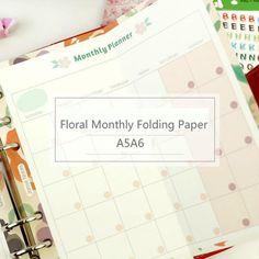 Lace Floral Rose Dobrável Página Papel de Enchimento Para Filofax A5a6 Plano Mensal Planejador Caderno Espiral Agenda Diário Papelaria