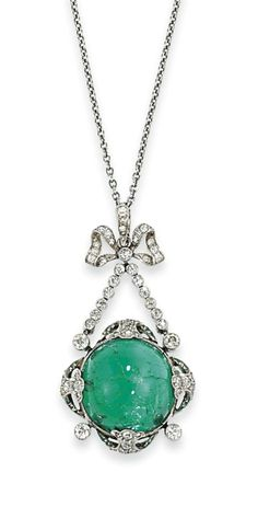 AN EARLY 20TH CENTURY EMERALD AND DIAMOND PENDANT The cabochon centre mounted within a four claw millegrain rose-cut diamond-set foliate surround, to a similarly-set bow and ribbon motif surmount, circa 1915