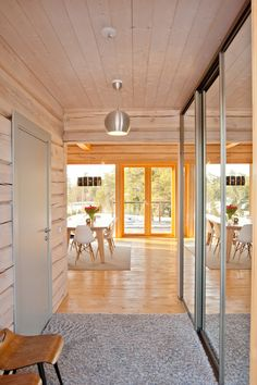 Modern log house, entrance hall.