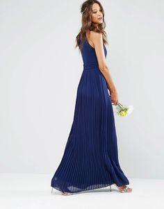 Image 2 ofTFNC Tall High Neck Pleated Maxi Dress