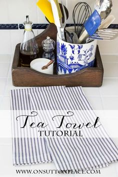 This easy tea towel tutorial has step by step directions. Shows how to make a mitered corner. Diy Sewing Projects, Sewing Hacks, Sewing Tutorials, Sewing Crafts, Sewing Ideas, Hand Embroidery Patterns, Embroidery Designs, Machine Embroidery, Machine Applique