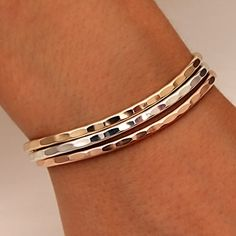 $152 Handcrafted Thin Cuff Bracelets from David Smallcombe- Sterling Silver, 14k Yellow Gold Filled, and 14k Rose Gold Filled Hammered Cuff Brace...