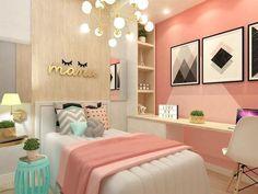 teen girl bedroom decor, gray white and pink bedroom decor, tween girl room design, girl room ideas desk area in kid room Bedroom Themes, Bedroom Design, Room Inspiration, Small Room Bedroom, Small Bedroom, Cute Bedroom Ideas, Bedroom Colors, Trendy Bedroom, New Room