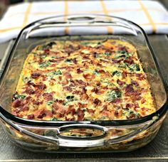Low-Carb Bacon, Egg, and Spinach Breakfast Casserole in a glass pan with a white and yellow napkin Keto Breakfast Muffins, Low Carb Breakfast Casserole, Breakfast And Brunch, Keto Breakfast Smoothie, Breakfast Recipes, Bacon Breakfast, Breakfast Cereal, Breakfast Ideas, Dinner Recipes