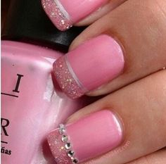 Love these pink nails with the delicate glitter and diamante detail. Wish all my nails would stay long to do all these fancy nail arts on. But then I reckon you could do this on short nails too. Fancy Nails, Love Nails, Pink Nails, How To Do Nails, Pretty Nails, My Nails, Dream Nails, French Tip Nail Art, French Tips
