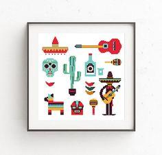 Cactus Cross Stitch Pattern Modern Mexico Funny Cross Stitch