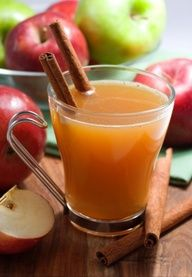 .CIDER!!  1 gallon of apple juice (100% apple juice)  ½ gallon of pineapple juice  1 cinnamon stick  5 clove pieces  ½ t. nutmeg  1 orange, sliced  juice of 1 lemon   ½ c. sugar    Combine all ingredients in a big pot on the stove and simmer for 2-3 hours. Or in a large crock pot for 2 hours on high, then turn to low or 'keep warm' and can be left on all day. (My favorite method is in the crock pot.)  Recipe from Helen Robinson of Canyon, Texas..""